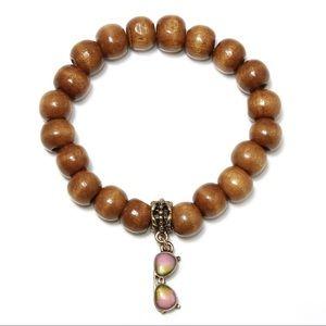 Jewelry - Wood bead bracelet with sunglasses charm